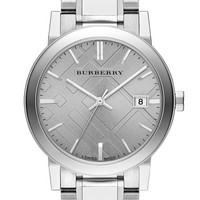 Women's Burberry Check Stamped Bracelet Watch, 38mm - Silver/ Grey