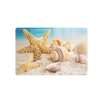 Autumn Fall welcome door mat doormat Beach Theme Anti-slip  Home Decor, Starfish and Seashells with Blue Sky Indoor Outdoor Entrance  Rubber Backing AT_76_7