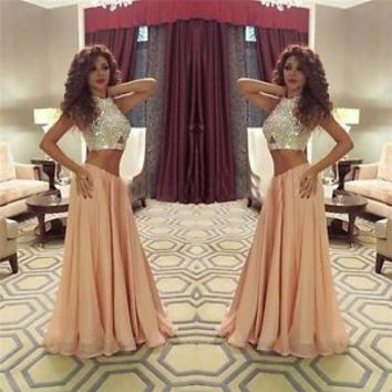 NEW Two Piece Crystal Chiffon Evening Prom Dress Formal Party Pageant Ball Gown