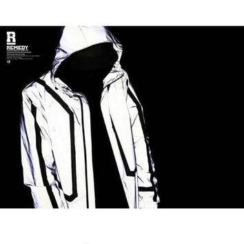 high quality Casual Mens Jackets Hip-hop Winter Waterproof 3m Reflective Jacket Men Clothes Outdoor Baseball Coat Windbreaker