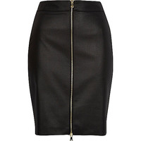 River Island Womens Black coated zip front pencil skirt