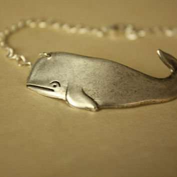 Silver Personalized Whales BRACELET by iadornu on Etsy