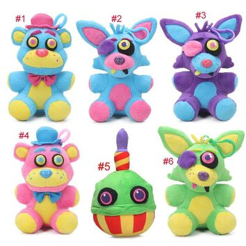 6pcs 15cm Blacklight  at  Plush Keychain Toys Neon Foxy Cupcake Freddy Fazbear  Toy Soft Stuffed Dolls