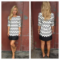Black & White Chevron Print Shift Dress