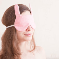 Bunny rabbit Sleep Mask. Gift Valentine's Day