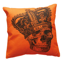 Crown Skeleton Orange Throw Pillow