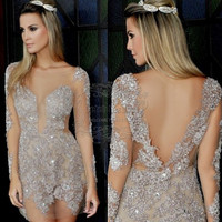 Vestido De Cocktail Dress Sexy Open Back Long Sleeves Short Cocktail Party Dress Luxury Beading Sheath Mini Cocktail Dress 2017