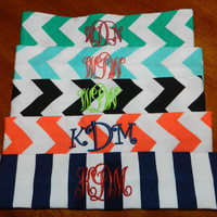 Monogrammed Chevron Knit Headbands