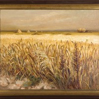 Marcel Dyf, Oil on canvas, Wheat field, Arles France 1935, oil painting, French scenery, post-impressionnism, COA, large wall Art