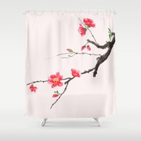 red Japan begonia  Shower Curtain by Color and Color