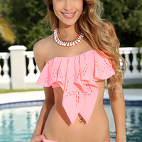 Coral Bandeau Perforated Ruffle Overlay Lightly Padded Matching Bottoms Cute 2 Piece Swimsuit