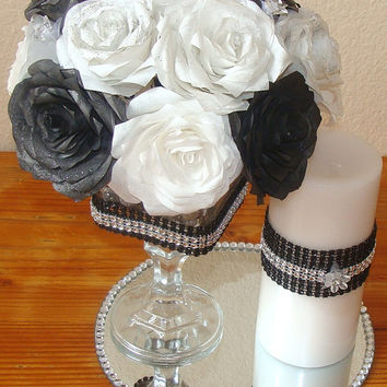 Floral Arrangement, Black and White, Wedding centerpieces, Silk flowers, Fake flower decor, home decor, paper roses, coffe filter flowers