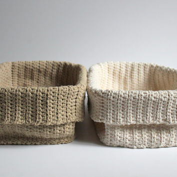 Set of 2 Crochet Basket, Rectangular Basket, Bathroom Basket, Organization