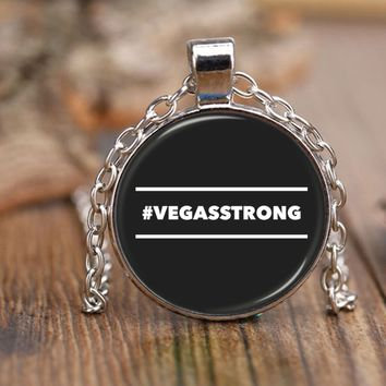 """#VEGASSTRONG HASHTAG VEGAS STRONG * 18"""" Adjustable Rolo Style Chain Necklace"""