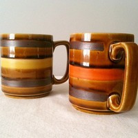 Pair of Brown Vintage Striped Mugs1970s by inmyigloo on Etsy