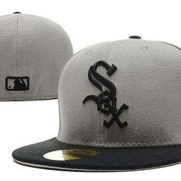 Chicago White Sox New Era Mlb Authentic Collection 59fifty Hat Grey Black