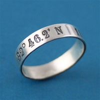 Latitude and Longitude Coordinates Sterling Silver Solid Ring - Spiffing Jewelry