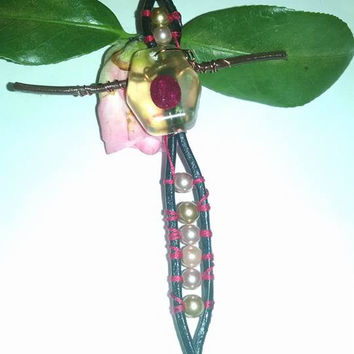 New Leather Wrap Cross Pendant with Gold and Mauve Pearls Real Ruby in Resin Center Piece Boho Chic Easter Pendant Mirror Charm Fan Pully