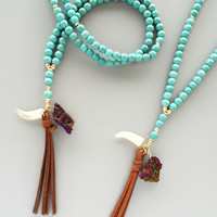 Desert Winds Druzy, Horn & Tassel Necklace