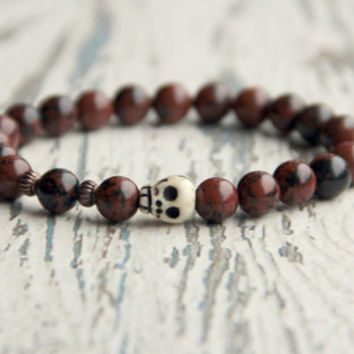 skull bracelet Brown bracelet gemstone bracelets gift for him brother present boy jewelry beaded bracelet accessories mens bracelet Goth
