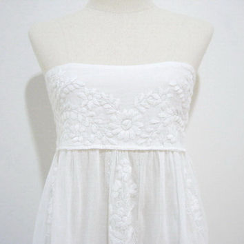 Mexican Embroidered Sundress Cotton Strapless In by chokethai