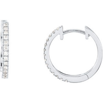 14k White Gold Diamond Hinged Hoop Earrings for Dangles, 0.6 inch (14mm)