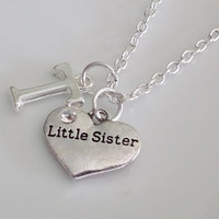 Little Sister Necklace, Initial Necklace, Heart Necklace, Personalized Necklace, Silver necklace, Sister Gift