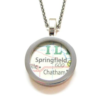 Springfield Illinois Map Pendant Necklace