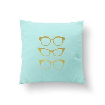 Gold Glasses Pillow, Home Decor, Decorative Pillow, Cushion Cover, Gold Pillow, Throw Pillow, Bedroom Decor, Modern Pillow, Bed Pillow,