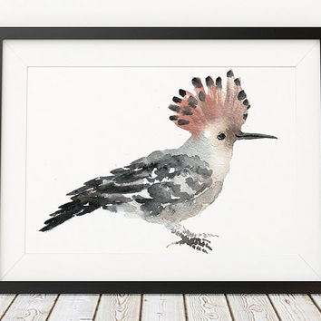 Hoopoe print Bird watercolor Cute nursery art ACW144