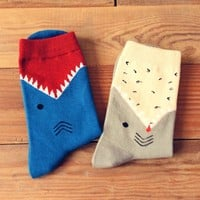 Unisex Shark Biting Your Leg Print Socks Animal Themed Cotton Socks in Blue or Grey