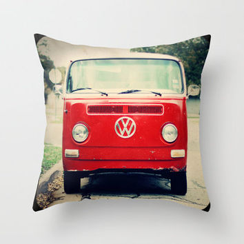 Red VW Bus Throw Pillow by Anna Dykema Photography   Society6