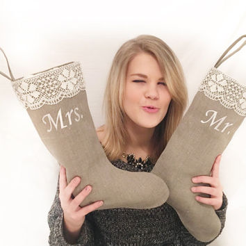 Personalized  Christmas stockings    Mr and Mrs Christmas stocking   Wedding gift