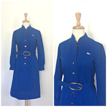 1960s Sheath Dress - David Crystal - Izod - preppy dress - knee length - blue shift dress - Lacoste - S M