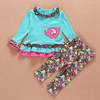 European Baby Girl Clothing Set Elephants Embroidery Long Sleeve T Shirt + Flower Print Pants baby set 9-24 month