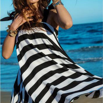 Black and White Striped Butterfly Strap Beach Dress