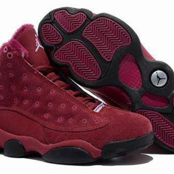 Cheap Air Jordan 13 Men Shoes Suede Burgundy Black