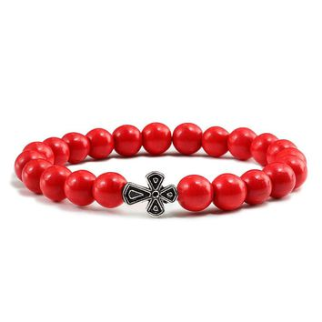 Red & Yellow Natural Stone Beaded Bracelet Egyptian Ankh Cross Meditation Buddha Bracelets Fashion Jewelry For Women Men Bangles