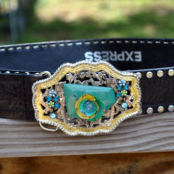 Women's Black Leather Belt-Studded Leather Belt-Metal Belt Buckle Hand Embellished-Real Turquoise-Western Native American Style