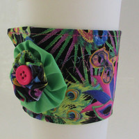 Mardi Gras Coffee Cup Cozy / Masquerade Mask Drink Sleeve / Mardi Gras Masks