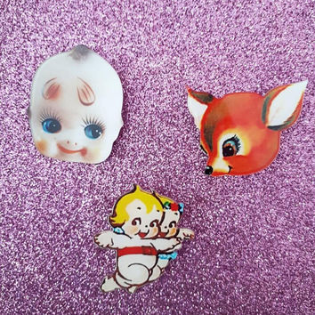 Kitschy cute atomic 50s Mabel Kewpie face kawaii pin badge vintage inspired retro kitchen 1950s kitsch mod vinnie boy Melanie Martinez doll