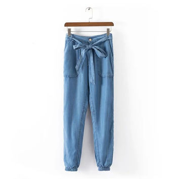 Women Blue Denim Jeans loose trousers bow tie pockets pants casual slim brand design plus size KZ646
