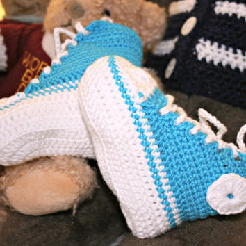 Baby crochet booties high tops sneakers crochetyknitsnbits Peacock blue bamboo Hand made baby boy clothes layette shower gift 3 to 9 months