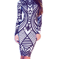 made2envy Geometric Pattern Print Long Sleeve Bodycon Dress