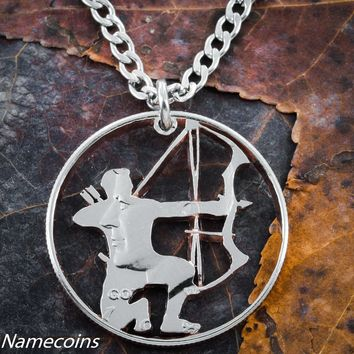 Hunting Jewelry, Compound Bow and Arrow Necklace by Namecoins