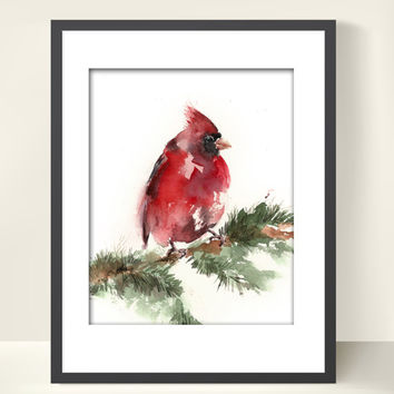 Bird Watercolor Painting Art Print - Bird Watercolor - Red Cardinal - Bird Art - Watercolor Painting - Bird Illustration