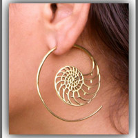 Brass Earring, Tribal Brass earring, Unique Hoops Earrings, Brass Hoops, Gypsy Earring, ,Fake Gauge Earring, 1.2mm wire Brass Hoops