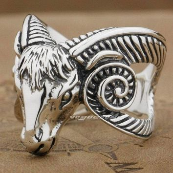 LINSION Ram Skull Long Horn 925 Sterling Silver Mens Boys Biker Rock Punk Ring 8V008 USA