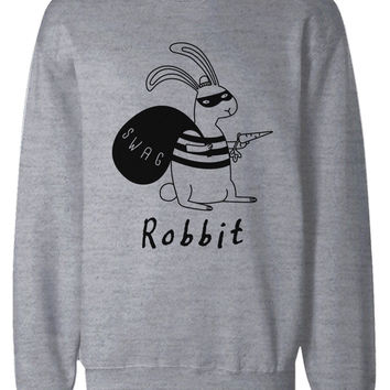 Funny Unisex Grey Graphic Sweatshirts - Robbit with Swag Bag