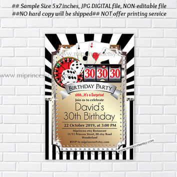 Poker Playing Card Gold birthday invitation, Casino night gold glitter design invitation for any age 30th 40th 50th 60th 70th 80th card 537